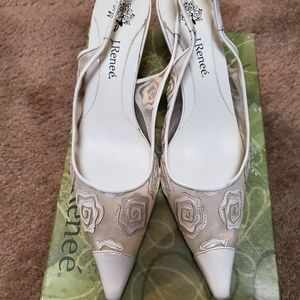 J Renee White Slingbacks